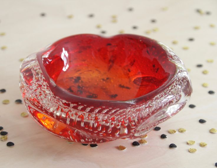 MCM red glass ashtray. 60s glass ashtray. Red bubble glass. Art glass. Gift for her. Gift for him. Midcentury home. Gift for smoker. Modern by ForestHillTradingCo on Etsy