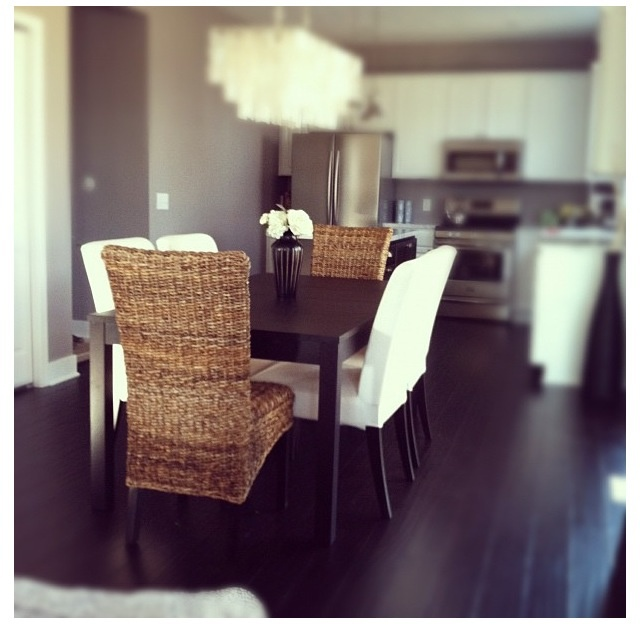Bad pic sorry  but the white chairs and natural chairs for an updated  rustic beach vibe  Another option for chandelier would be a capiz one 8 best dining table set images on Pinterest   Dining tables  7  . Dining Room Chairs Homesense. Home Design Ideas
