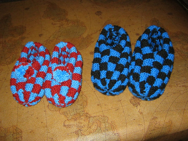 Checkerboard slippers I made, from a pattern  by Denise Levs