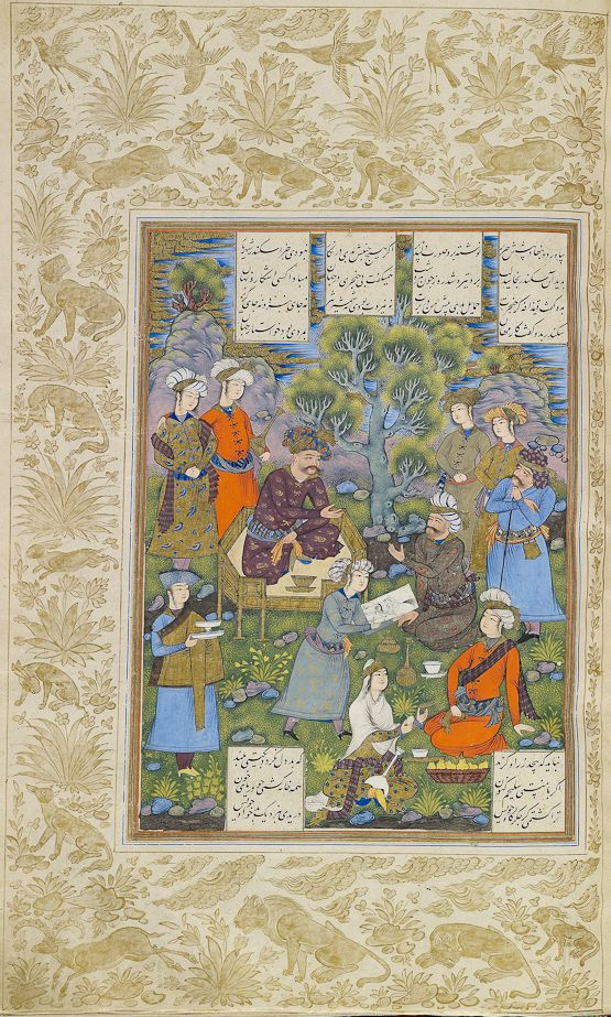 Eskandar (Alexander the Great) shown his portrait Ferdowsi, Shahnameh Safavid: Mashhad, April–May 1648 Scribe: Mohammad Hakim al-Hoseyni Artist: attributed to Mohammad Qasem by Robinson Binding: lacquer by 'Ali Ashraf, March–April 1747 Patron: Qarajaghay Khan, governor of Mashhad Opaque watercolour, ink and gold on paper Windsor, The Royal Collection, MS A/6. RCIN 1005014, fol. 498r Lent by Her Majesty The Queen