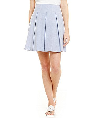 Lauren James Pleated Seersucker Skirt #Dillards
