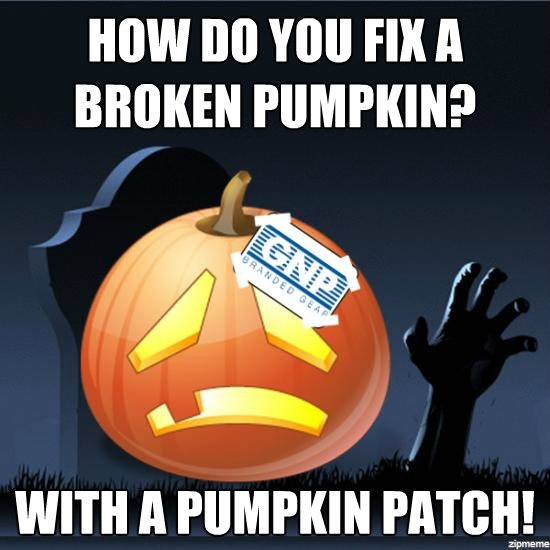 How do you fix a broken pumpkin?  With a pumpkin patch! #GNP #Brandedgear #Fridayjokes #Pumpkin