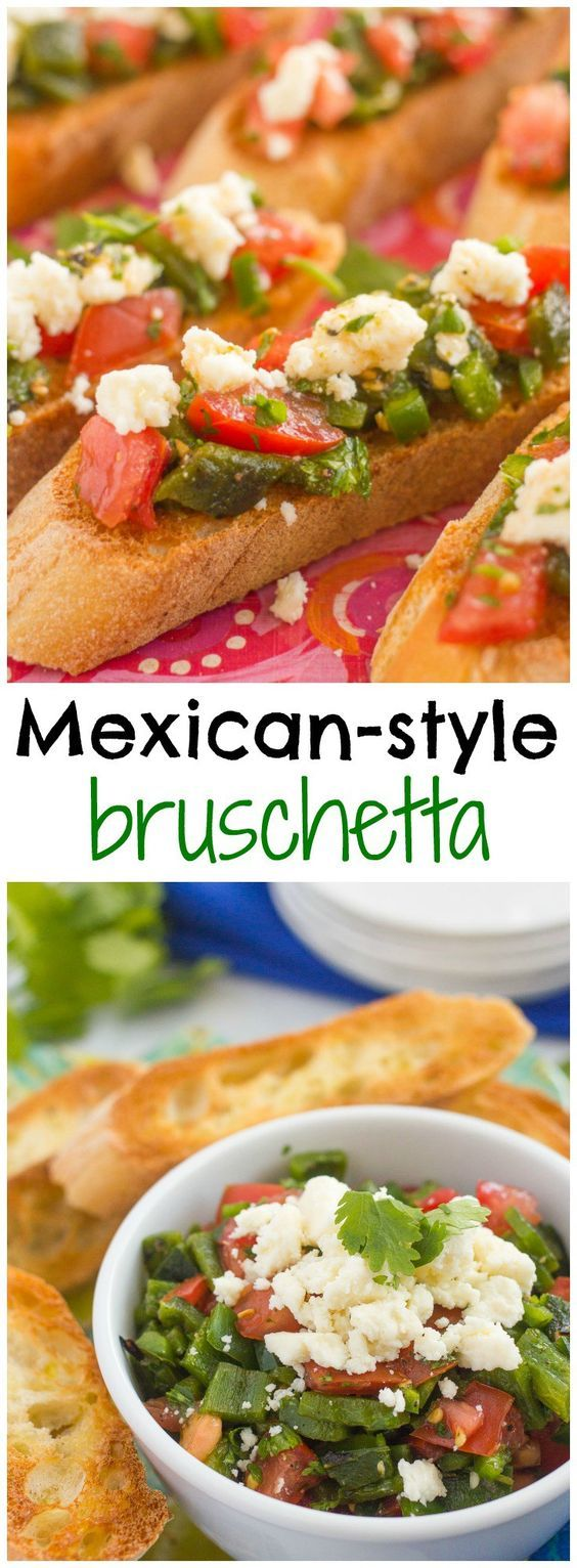 An easy Mexican-style bruschetta with roasted poblano peppers, jalapeno and queso fresco cheese - great as an appetizer or over grilled chicken or fish! | FamilyFoodontheTable.com