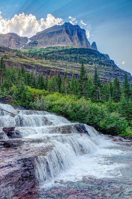 Pyramid Creek Falls located above Mokowanis Lake. Glacier National Park, Montana; photo by .John and Jean Strother
