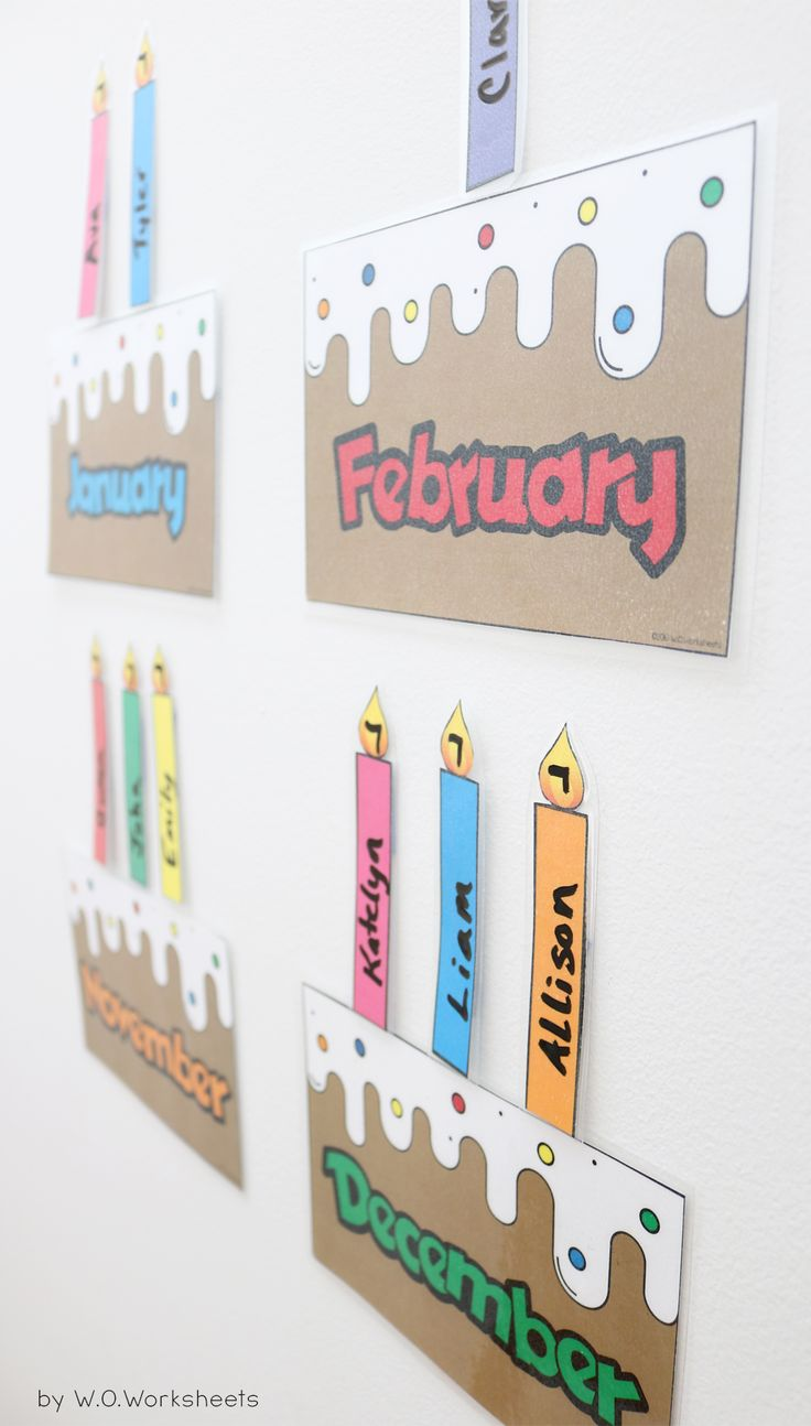 Printable classroom birthday chart. Laminate and use a dry erase marker to write the names of each student on the candles and place on the birthday cake month.