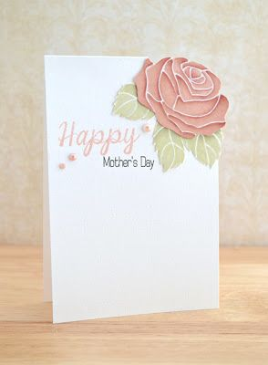 hand crafted Mother's Day card from Stamping & Sharing ... rose image over-cut corner ... mixed font greeting ... clean and simple ... Clearly Besotted ...