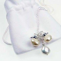 Silver Pearl Drop Pendant #silver #jewellery #modern #bride