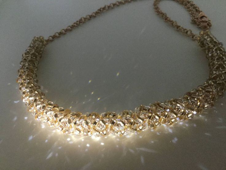 Champagne seed bead netted necklace with rose gold colour crystal accents - sparkly bead embroidery by JoMoJewellery on Etsy