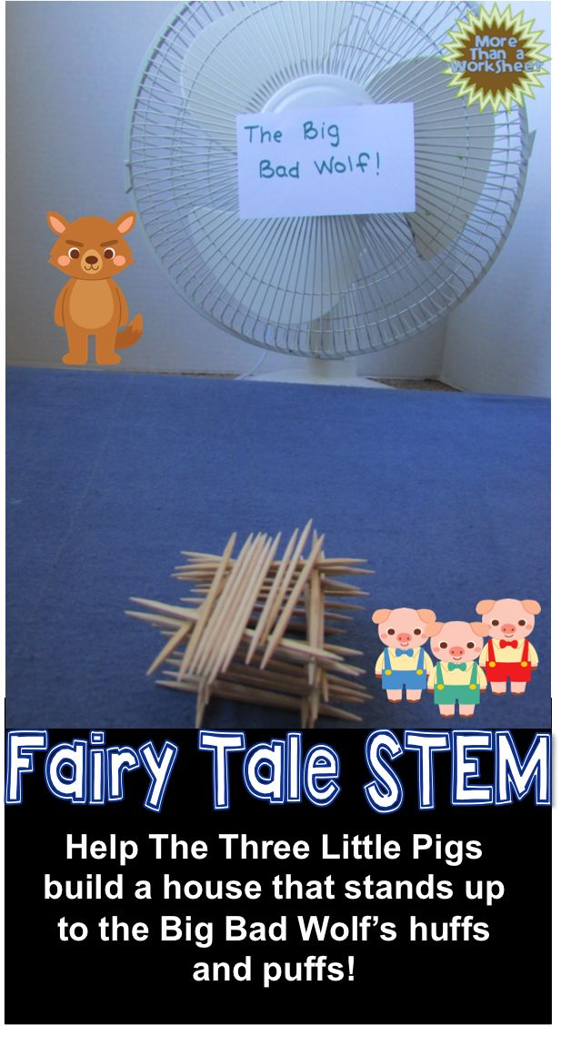 Students will build a toothpick house for the Three Little Pigs! Fairy Tale STEM from More Than a Worksheet $