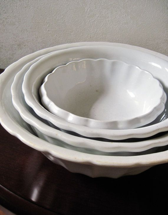 Antique Scalloped Ironstone Bowls, Meakin, Made in... - FARMHOUSE