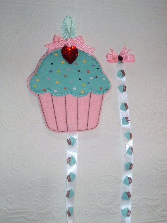 Embroidered Cupcake Hair Bow Holder With by MacAndRoniDesigns