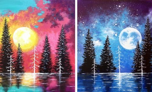 Moonrise And Sunset Lake Partner Painting at Green Papaya Merivale - Paint Nite Events near Ottawa, ON>