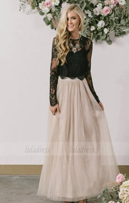 Two Pieces Party Dresses Lace Tulle Evening Dresses Floor Length Formal Gowns,BD99718