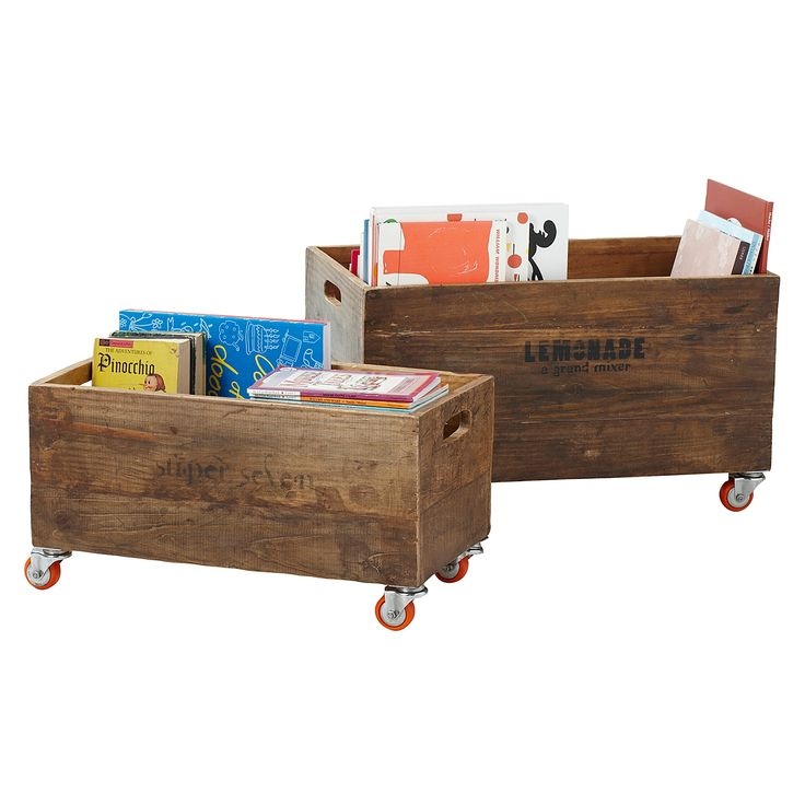 Rolling Storage Crates --such a cute storage idea for the nursery.