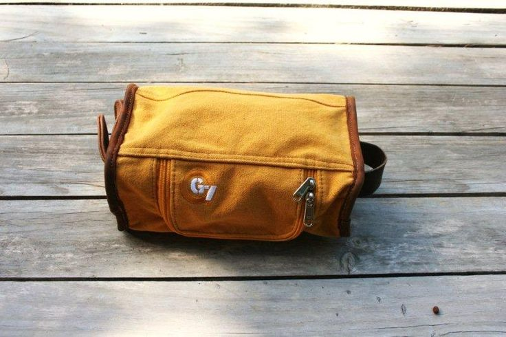 G7utility canvas & leather Wash-bag - Burnt Yellow