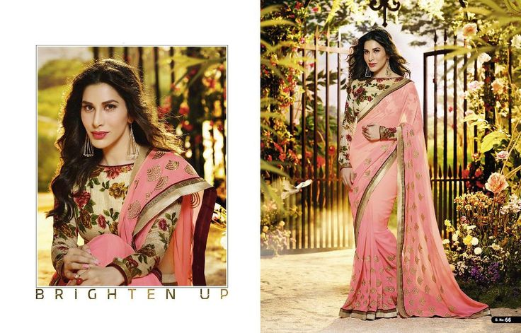 Sophie Choudry Georgettte, Net, Satin, Raw Silk, Satin Jacquard and Chiffon Saree with Raw Silk Blouse (Catalog - Sophie-Choudry-5331)