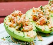 Crabmeat, shrimp salad stuffed avacados