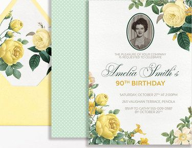 90th Birthday Invitation Photo Yellow Roses Floral Flowers Printable Suitable for 60th 80th 70th 50th 90th Milestone Birthday Mint Green - Westminster Paper Co.