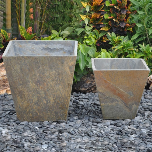 Rusty Granite Tapered Flower Pots - Set of Two...use black granite remnants and make these for front porch