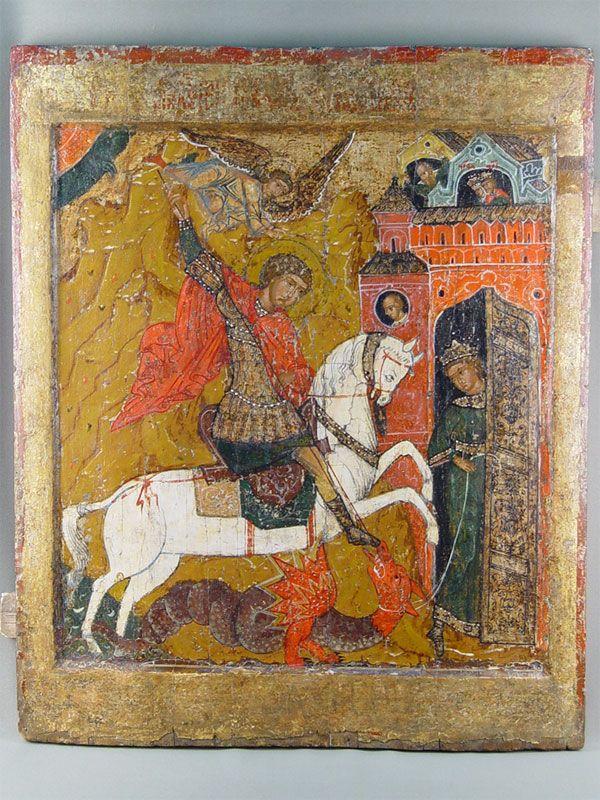 Лот 31050. Икона «Святой Георгий Победоносец», дерево, левкас, темпера, XVIIвек, размер: 68,2×56см