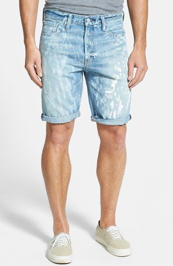 $68, Light Blue Denim Shorts: Levi's 508 Tapered Fit Denim Shorts Pixilated Light 36. Sold by Nordstrom. Click for more info: https://lookastic.com/men/shop_items/51305/redirect