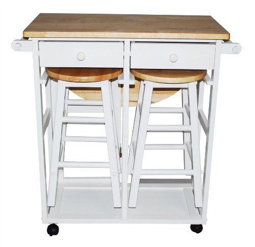 Wildon Home Kitchen Cart with Drop-Edge Table, two drawers and two stools - $115 on Amazon