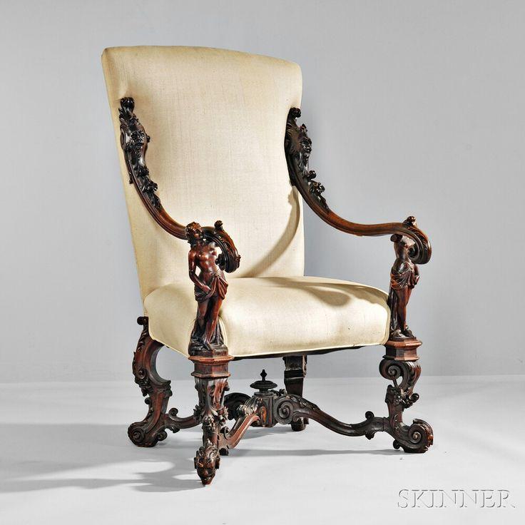 ~ Venetian Baroque-style Carved Walnut Armchair ~ skinnerinc.com/auctions