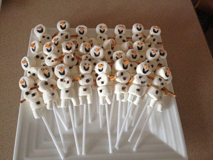 Olaf from frozen marshmallow pops