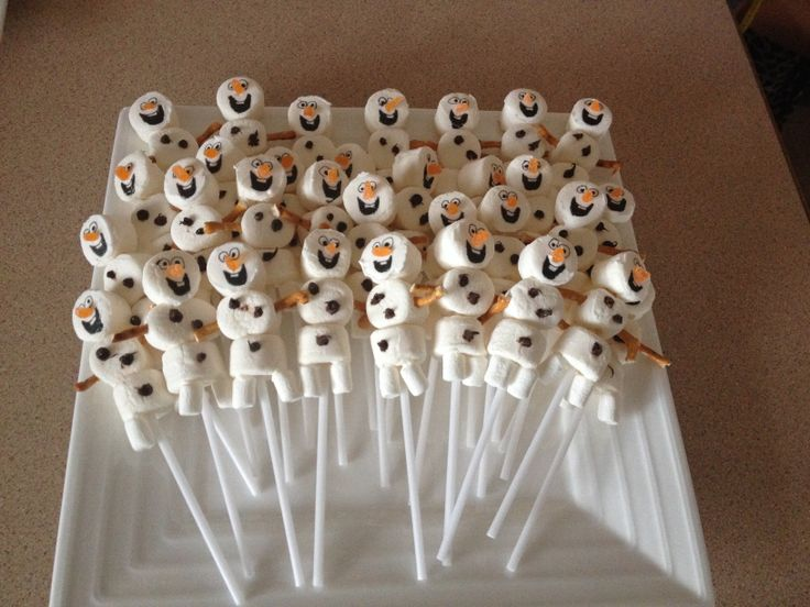 Olaf from frozen marshmallow pops