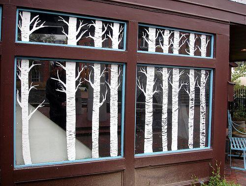 Birch tree window art.