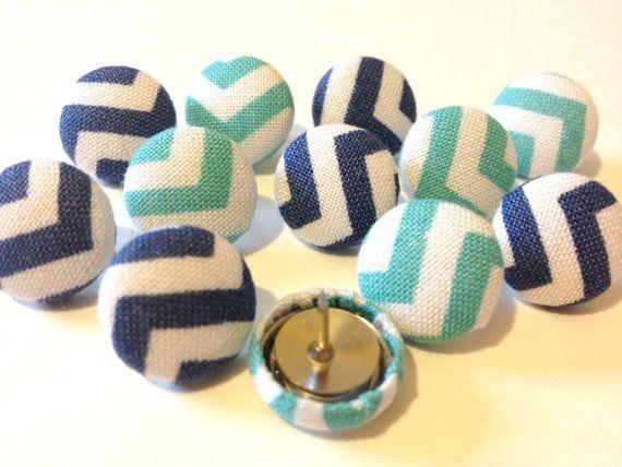 Thumbtacks - 12 Blue Chevron - Push Pins - Office Accessories - Housewares - Pushpins - Tacks - Office Decor - Cute Pushpins