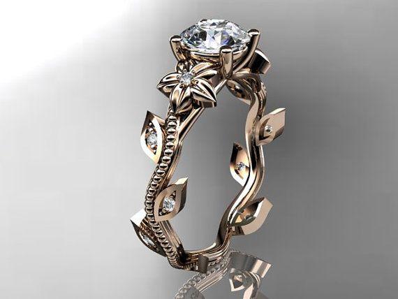 14kt  rose  gold diamond leaf and vine wedding ring,engagement ring. Highgarden jewellery
