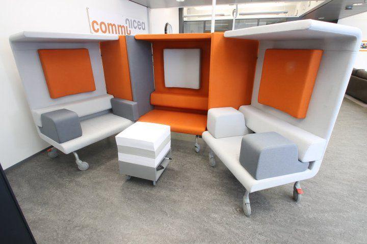 Office interior, Communicea, Piiroinen UWork, furniture design, orange and grey