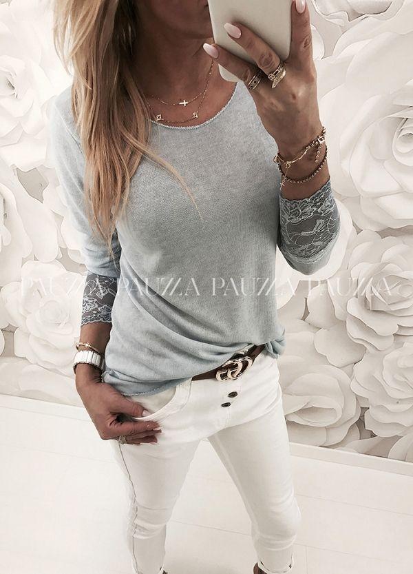 Exclusive Look Urocza Delikatna Bluzeczka Koronka Italy Blue Top Pants Set Women Hooded Tops