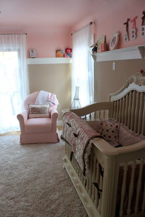 """Melisa, of Project Nursery, says """"Bravo for the pink ceiling. Go big or go home—that's what I always say! This is a sweet color combination."""""""