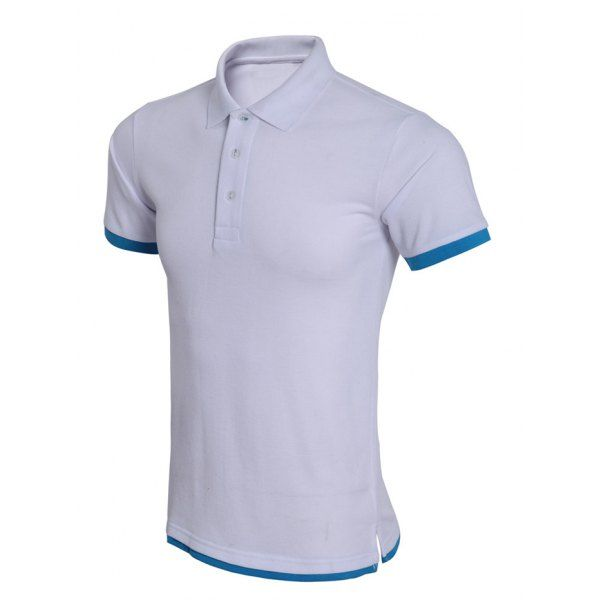 Simple Spliced Bicolor Short Sleeve Polo Shirt For Men