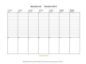 calendrier semaine 42 2015 jours horizontale
