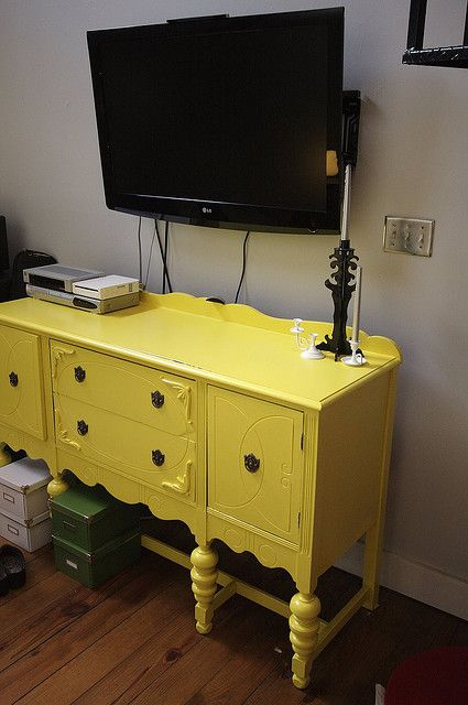 Loving The Yellow Painted Buffet As A Tv Stand