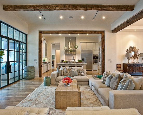 wood beams in a modern home: Modern Living Rooms, Architects, Idea, Cat, Window, Living Rooms Design, Open Floors Plans, Floorplan, Wood Beams
