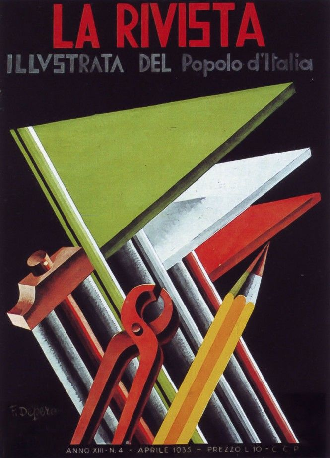 "La Rivista illustrata del Popolo d'Italia (the illustrated magazine for the Italian people), Italian Fascist magazine. April 1935. Artist: Fortunato Depero (1892-1960). A periodical supplement to the daily newspaper ""Il Popolo d'Italia"", founded by Benito Mussolini in 1914 (and shut down on July 26, 1943, the day after the end of the Fascist regime)."
