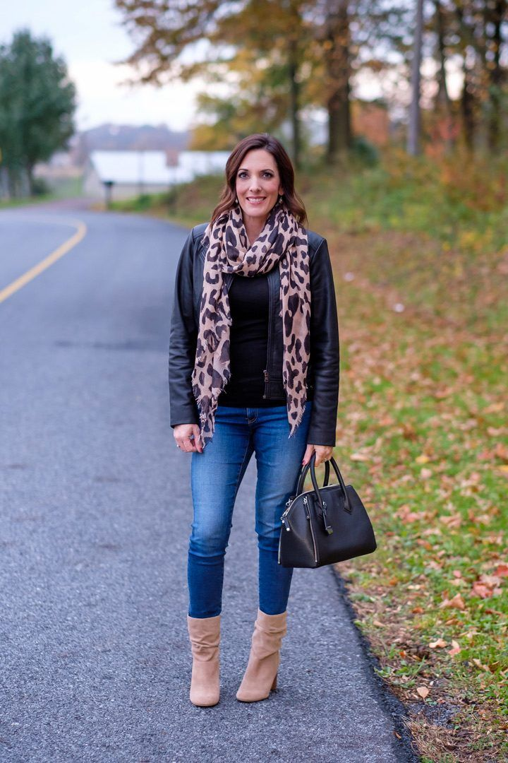 7cba7bd727 Jo-Lynne Shane wearing Leopard Scarf with Black Leather Jacket and Slouch  Booties +  100 Nordstrom GIVEAWAY