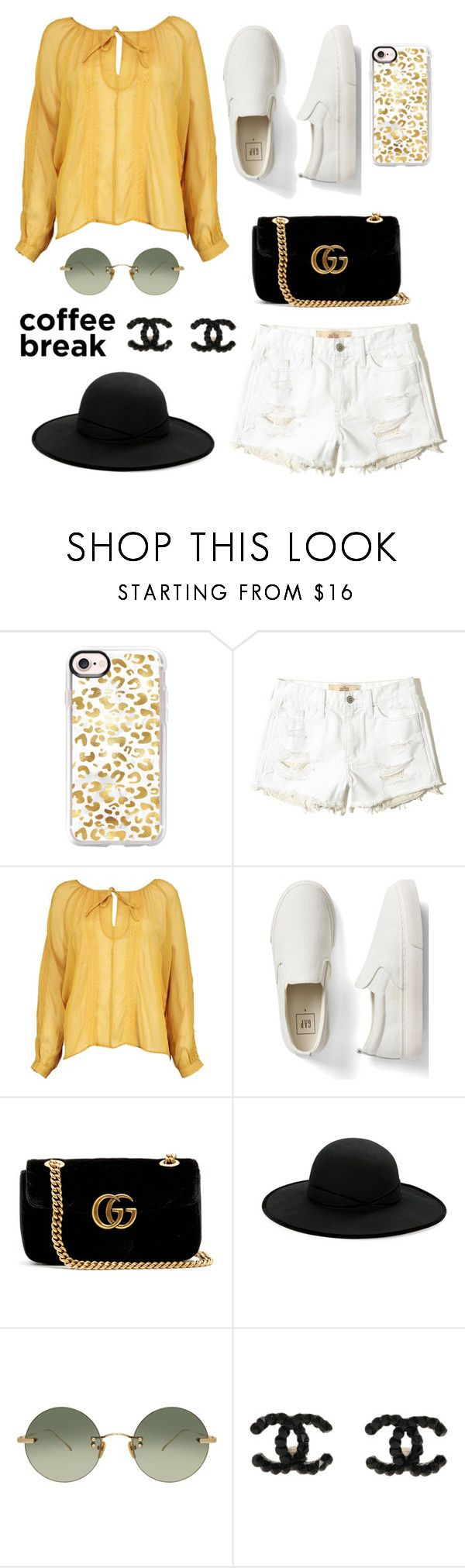 """""""Sunny"""" by ravenclaw-phoenix on Polyvore featuring Casetify, Hollister Co., Boohoo, Gap, Gucci, Betmar and Linda Farrow"""
