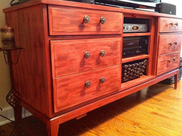 DIY: Refinished dresser/entertainment center! Sedona Red chalk paint.