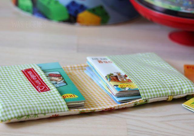 Foto-Tutorial für Heimwerker: Ein Mini-Buchbezug aus Stoff für 10 Pixibücher
