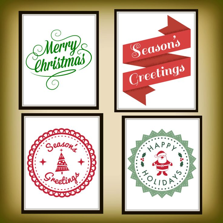 Merry Christmas - Season's Greetings - Happy Holidays - Christmas Printables - Santa Claus Printables - Ribbon Printables - christmas tree by ChikatPrints on Etsy