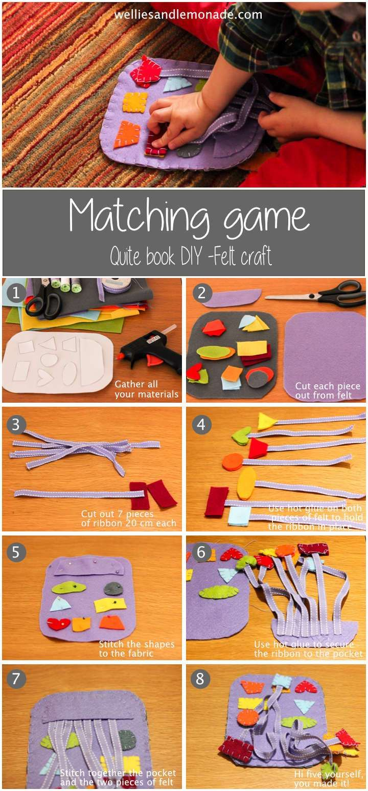 Keep your child entertained with this easy to sew quite book tutorial felt craft. find it over at http://www.welliesandlemonade.com/matching-game-quite-book-page-felt-craft