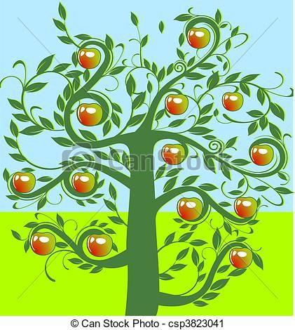 Stock Illustratie - appel, boompje - stock illustratie, royalty-vrije illustraties, stock clip art symbool, stock clipart symbolen, logo, line art, EPS beeld, beelden, grafiek, grafieken, tekening, tekeningen, vector afbeelding, artwork, EPS vector kunst