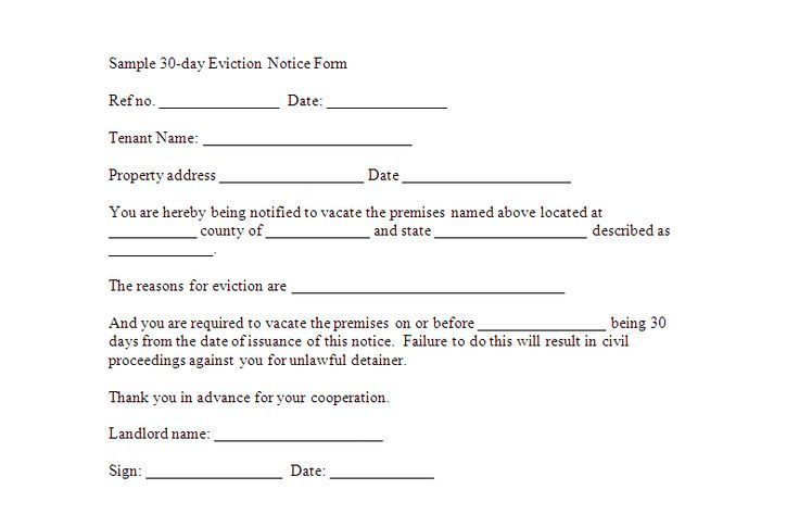 Printable Sample 30 Day Notice To Vacate Template Form Printable