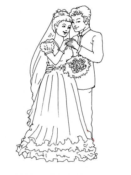 Kleurplaat thema bruiloft voor kleuters / Mariage / Wedding coloring for preschool