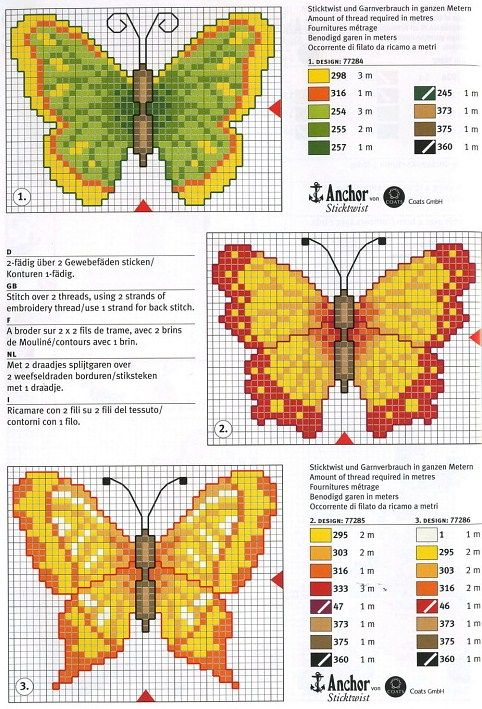 Butterfly cross stitch chart